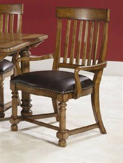 American Drew Furniture Americana Home Warm Khaki Oak Leather Seat Arm Chair   114 637   Dining Room Furniture Sets
