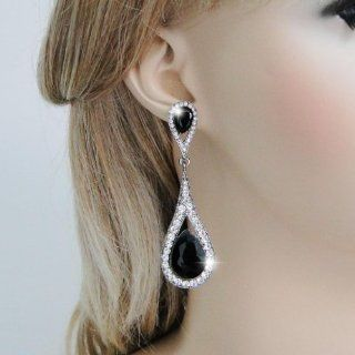 Black Tone Art Deco Teardrop Austrian Crystal Jet Color Dangle Earrings N01999 5 Ever Faith Earrings Jewelry