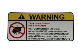 Acura vtec No Bull, Warning decal, sticker Automotive