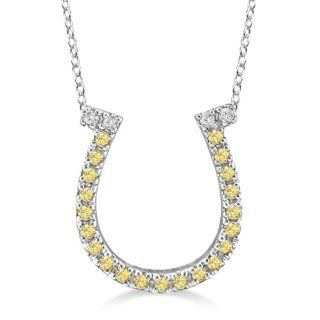 Fancy Yellow Canary Diamond Horseshoe Pendant Necklace 14k White Gold Jewelry
