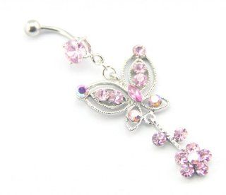 Baqi Pink Butterfly With Flower Dangling Pink Crystals Belly Navel Ring Barbell 14G Pink Jewelry