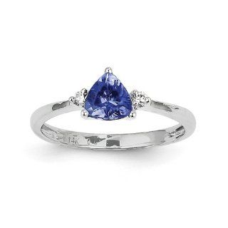 14K White Gold Trillion Tanzanite Diamond Gemstone Ring. Carat Wt  0.77ct Jewelry