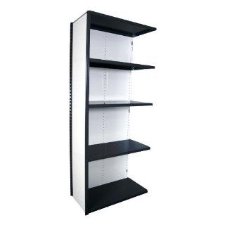"Equipto 673 5A V Grip 18 Gauge Heavy Duty Steel Closed Shelf Add On Unit with 5 Shelves, 700 lbs Shelf Capacity, 36"" Width x 84"" Height x 18"" Depth, Black Tool Utility Shelves"