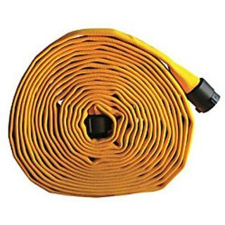 "Key Fire Single Jacket Fire Hose, Yellow, 1 1/2"" ID, 100 feet, 650 PSI Burst Pressure, M x F NST Aluminum Connectors"