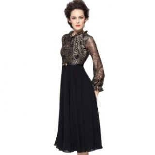 New Women's Glorious Golden Lace Hot Sheer Sleeves Slim Chiffon Dress (S) Sexy