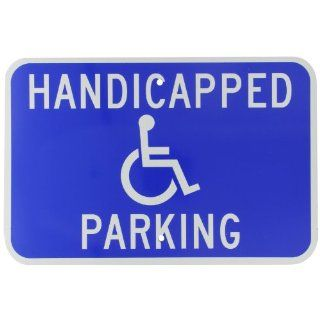 "Brady 91357 18"" Width x 12"" Height B 959 Reflective Aluminum, White on Blue Handicapped Sign, Legend ""Handicapped Parking"" (with Picto) Industrial Warning Signs"