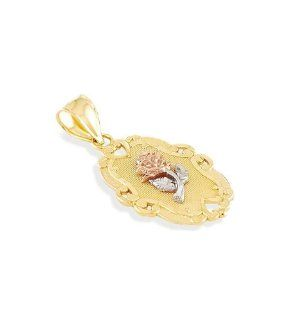 14k Yellow White Rose Gold Flower Scroll Charm Pendant Jewelry