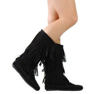 Women's Cherokee Black Faux Suede Moccasin Fringe Mid Calf Boots (6) Shoes