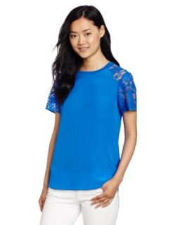 Rebecca Taylor Women's Silk and Lace Tee, Bright Blue, 0 Fashion T Shirts