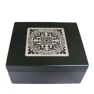 Small Celtic Wooden Tazo Tea Box, Sampler Includes 11 Flavors, 44 Teabags, Black and Silver Tea Chest China Green Tips Green Tea, Wild Sweet Orange Herbal Tea, Awake Black Tea, Organic Chai Tea, Zen Green Tea Decaf, Green Ginger Tea, Earl Grey, Lotus Decaf
