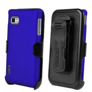 LG Optimus F3 MS659 / P659 Blue Full Armor Protector Cover Hard Case + Multi Position Holster + NakedShield Invisible Screen Protector Cell Phones & Accessories