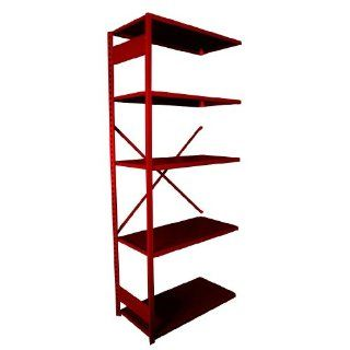 "Equipto 665 5A V Grip 18 Gauge Heavy Duty Steel Open Shelf Add On Unit with 5 Shelves, 721 lbs Shelf Capacity, 36"" Width x 84"" Height x 24"" Depth, Red Tool Utility Shelves"