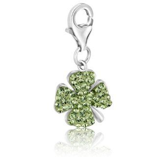 Sterling Silver Four Leaf Clover Green Tone Crystal Accented Charm Clasp Style Charms Jewelry