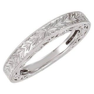 14k White Gold 1/5 Cttw Hand Engrave Diamond Band by US Gems, Size 6 Jewelry