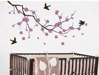 Purple Cherry Flower Blossom Branch Tree Trees Bird Home Art Decals Wall Sticker Vinyl Wall Decal Stickers Living Room Bed Baby Room 669   Other Products