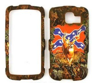 LG Optimus S LS670 Camo / Camouflage Hunter Series, Deer on Rebel Flag Hard Case/Cover/Faceplate/Snap On/Housing/Protector Cell Phones & Accessories