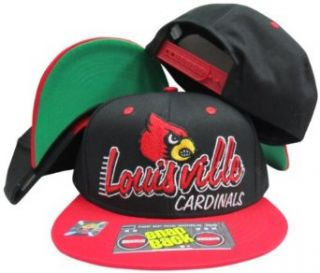 Louisville Cardinals Black/Red Two Tone Plastic Snapback Adjustable Plastic Snap Back Hat / Cap Clothing