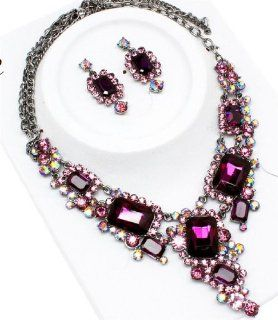 Purple Crystal Necklace Earring Set Silver Tone Evening Bridal Gorgeous Jewelry