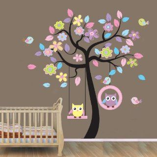 WallStickersUSA Wall Sticker Decal, Beautiful Tree with Hanging Owls Pink Flowers, X Large  Nursery Wall Stickers  Baby
