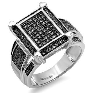 0.45 Carat (ctw) Sterling Silver Round Black Diamond Mens Ladies Unisex Cocktail Engagement Ring Jewelry