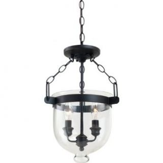 Sea Gull Lighting 77046 715 Autumn Bronze Finished Convertible Semi Flush/Pendant with Cloche Glass Shades   Ceiling Pendant Fixtures