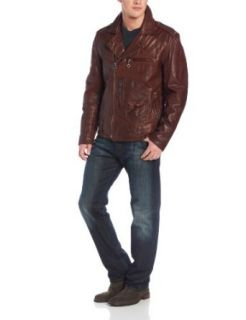 Denim & Leathers Andrew Marc Men's Westwood Leather Moto Jacket, Brown, Medium at  Men�s Clothing store