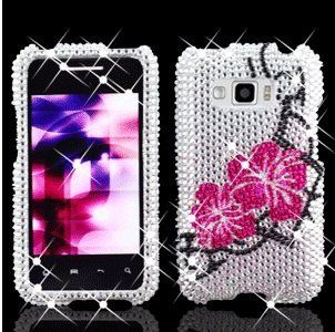 LG Optimus Elite LS696 LS 696 Cell Phone Full Crystals Diamonds Bling Protective Case Cover White with Hot Pink Two Hibiscus Floral Flowers Black Branches Design Cell Phones & Accessories