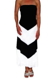 Sexy Strapless Chevron Colorblock Black and White Maxi Dress (Small)