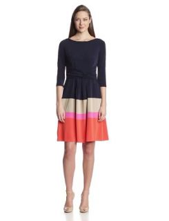 Jessica Howard Women's 3/4 Sleeve Criss Cross Waist Dress, Navy/Multi, 6
