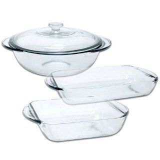 Anchor Hocking Fire King 4 Piece Glass Bakeware Set Bake And Serve Sets Kitchen & Dining