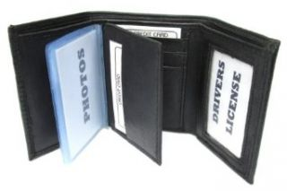 Mens Black Leather Wallet Lamb Classic Trifold 731 at  Men�s Clothing store