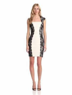Jax Women's Lace And Matte Jersey Dress, Black/Ivory, 2