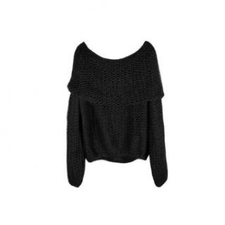 Women Boat Neck Loose Pullover Sweater 5 Colors Choose (Black)