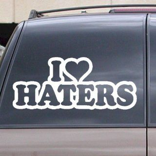 "I Love Haters Vinyl Decal Sticker 6"" White Car Truck Laptop Window Heart"