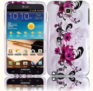White Purple Flower Hard Cover Case for Samsung Galaxy Note N7000 SGH I717 SGH T879 Cell Phones & Accessories