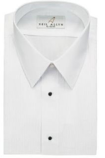 Neil Allyn Men's Tuxedo Shirt Poly/Cotton Laydown Collar 1/8 Inch Pleat at  Men�s Clothing store