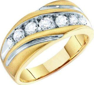 1.00ctw Diamond Fashion Mens Band 10K Yellow Gold Ring Jewelry