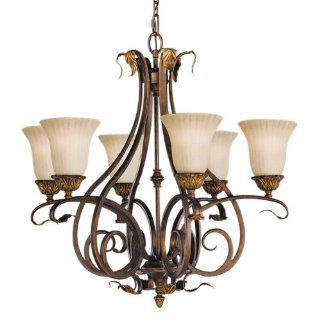 Murray Feiss F2076/6ATS Sonoma Valley Six Light Chandelier, Aged Tortoise Shell with French Scavo Glass Shades