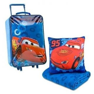 Cars Lightning Mcqueen Rolling Luggage Carry On Suitcase Slumber Set With Pillow And Blanket Clothing