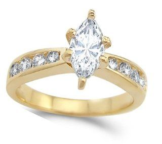 CZ Marquise Engagement Ring 14k Yellow Gold Bridal Cubic Zirconia 1.25 Jewel Tie Jewelry