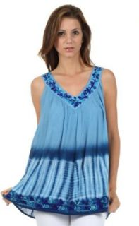 Sakkas 725 Ombre Tie Dye Gauzy Crepe Sleeveless Relaxed Fit Top / Blouse   Aqua / One Size