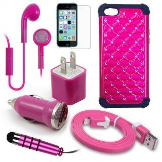 Apple iPhone 5C Pink Diamond Stud Dual Layer Rugged Case, USB Car Charger Plug, USB Home Charger Plug, USB 2.0 Data Cable, Metallic Stylus Pen, Stereo Headset & Screen Protector (7 Items) Retail Value $89.95 Cell Phones & Accessories