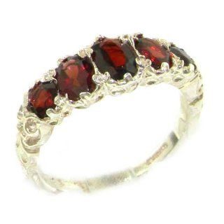 High Quality Solid 14K White Gold Natural Garnet English Victorian Ring   Finger Sizes 5 to 12 Available   Perfect Gift for Birthday, Christmas, Valentines Day, Mothers Day, Mom, Grandmother, Daughter, Graduation, Bridesmaid. Jewelry