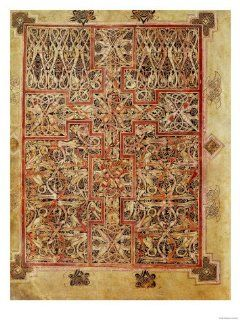 Carpet Page, Cross Filled with Bird Interlace, circa 730 Giclee Print Art (9 x 12 in)