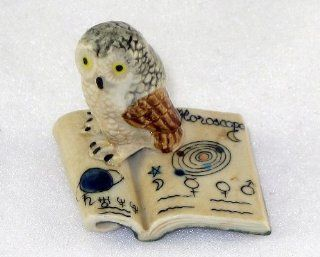 OWL on Folded Open Green BOOK Figurine MINIATURE New Porcelain KLIMA K419 30   Collectible Figurines