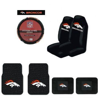 A Set of 2 Universal Fit NFL Rubber Floor Mats, 2 Vinyl Utility Mats, 2 Front Universal Fit Bucket Style Seat Covers, and a Comfort Grip Steering Wheel Cover   Denver Broncos Automotive