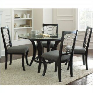 Steve Silver Company Cayman 5 Piece Round Dining Table Set in Black Home & Kitchen