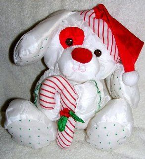 "1990 Vintage Fisher Price Puffalumps 11"" Puffalump Christmas Puppy Dog Holding Candy Cane Toys & Games"