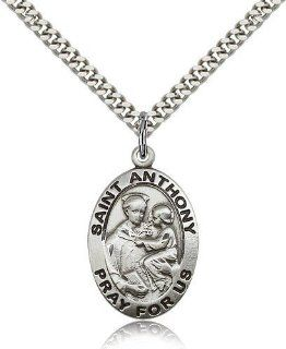 Sterling Silver Men's Patron Saint Medal of ST. ANTHONY of PADUA   Includes 24 Inch Heavy Curb Chain   Deluxe Gift Box Included Jewelry