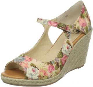 BC Footwear Women's Hammock Floral Wedge Espadrille, Cream, 11 M US Sandals Shoes